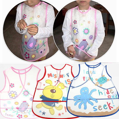 Waterproof Baby Kids Childs Arts Craft Painting Drawn Cooking Eating Apron Bibs