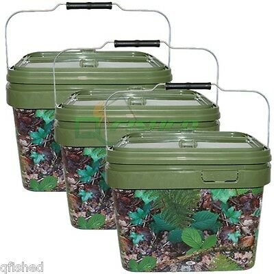3 X Square 10L Camo Bait Bucket For Boilies Pellets With Hinged Table Lid Carp