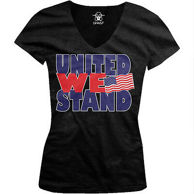 United We Stand- USA Flag Pride America July 4th Freedom Juniors V-neck T-shirt