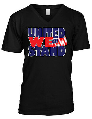 United We Stand- USA Flag Pride America July 4th Freedom Mens V-neck T-shirt