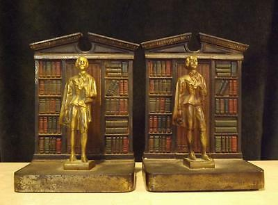 Set 2 Antique Judd Cast Iron Shakespeare Figurine Bookcase Bookends Signed #9638