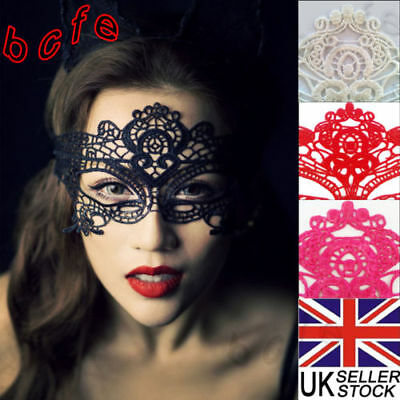 Black White Red Stunning Venetian Masquerade Eye Mask Party Lace Fancy Dress