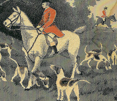Vintage Fox Hunting Silk Ribbon w/ Dogs Hounds Horses Riders! GREAT 100+ Yr. Old