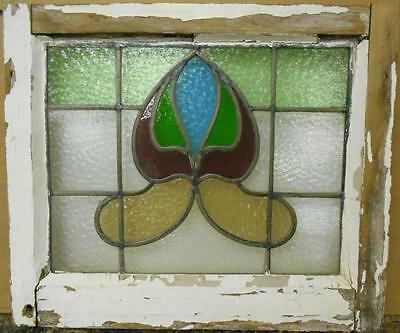 "OLD ENGLISH LEADED STAINED GLASS WINDOW Colorful Abstract Design 20.75"" x 17.75"""