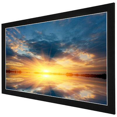 """84"""" 16:9 HD Aluminum Fixed Frame Projector Screen 73""""x41"""" Theater PVC Projection"""