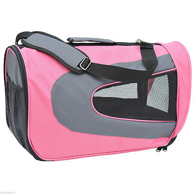 PawHut Soft Sided Pet Airline Carrier Foldable Dog Cat Bag Mesh Travel Tote Pink