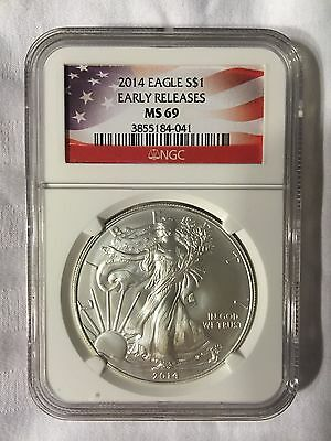 2014 American Silver Eagle - NGC MS 69 Early Releases Flag Label 1 oz