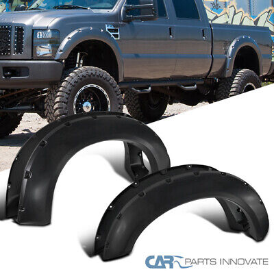 11-16 Ford F250 F350 Super Duty Gloss Black Smooth Pocket Rivet Fender Flares