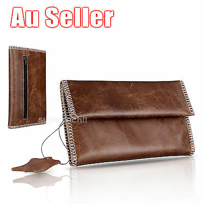 Genuine Leather Cigarette Tobacco Pouch Bag Case Filter Rolling Paper Gift