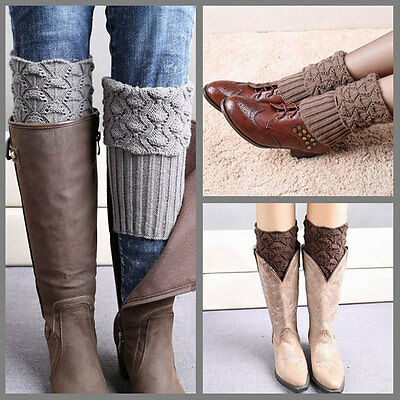 Women Winter Crochet Boot Cuffs Shell Knitted Toppers Boot Socks Leg Warmers