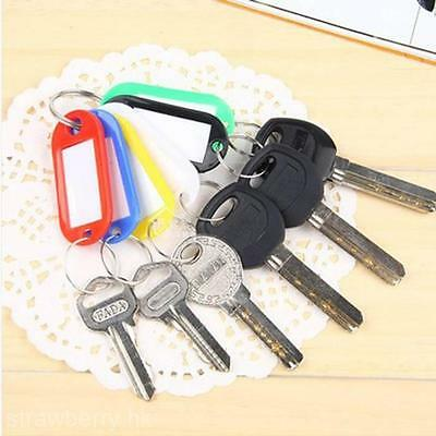 10 pièces plastique Key Ring ID Tags Name/ID Card Language Fobs Label