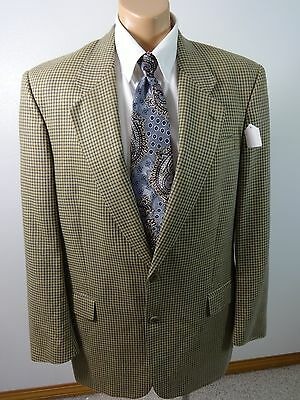 Jack Victor Mens Tan & Brown Houndstooth Wool Suit Jacket Sports Coat Size 42R