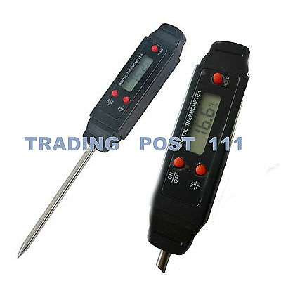 POCKET THERMOMETER DIGITAL CENTIGRADE FAHRENHEIT STAINLESS STEEL PROBE LCD 21ae