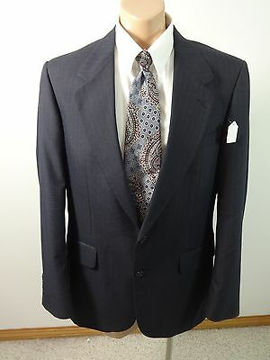 Stafford Mens Navy Rayon Wool Blend Two Button Sports Suit Coat Size 42L Nice