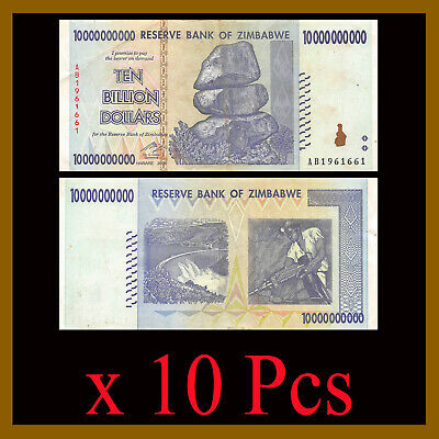 Zimbabwe 10 Billion Dollars x 10 Pcs, 2008 AA/AB USED, 50 100 trillion Series