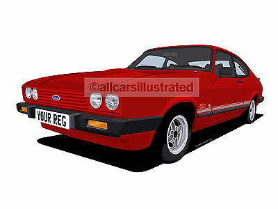 Ford Capri Laser Graphic Car Art Print (Size A3). Personalise It!