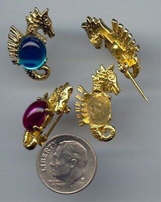 6 VINTAGE GOLD SEAHORSE UNSET 10x8mm. OVAL BROOCH PINS W432