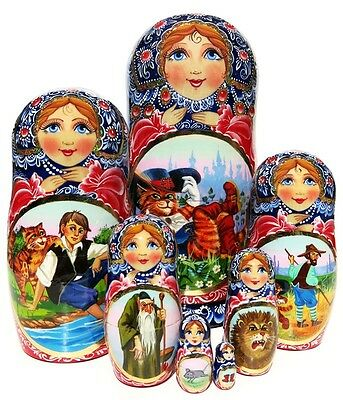 Puss in Boots Exclusive 7 Pc Nesting Doll. Russian Fairy Tale Stacking Babushka