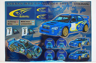SUBARU WRC CHALLENGE 2003 Rally Car Foil Sticker Sheet Solberg Makinen WRX STI