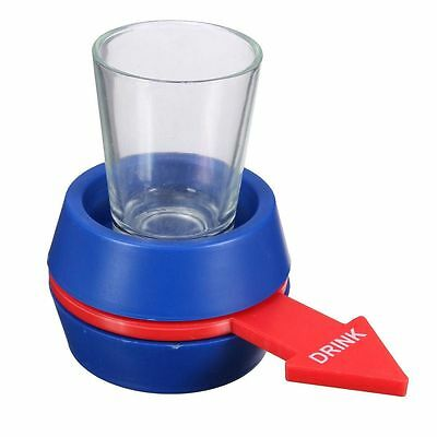 Spin The Shot Drinking Game with Shot Glass Great for Party! (Blue)
