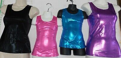 New Metallic Foil Spandex Tank top Cheer Dance Acro Gym Majorette hiplength