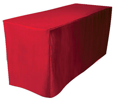 "4' Fitted Polyester Table Cover Wedding Banquet Tablecloth 24"" W - RED"