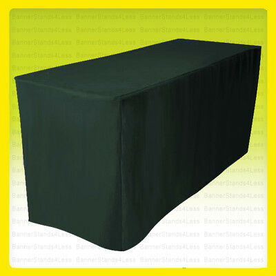 6' Fitted Polyester Wedding Banquet Table Cover Tablecloth - HUNTER GREEN