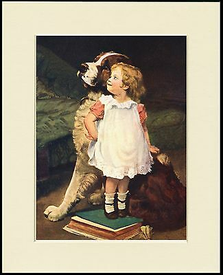 Saint Bernard And Cute Little Girl Charming Dog Print Mounted Ready To Frame