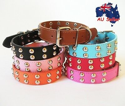 Genuine Real Leather Round Studded Riverts Pet Dog Collar