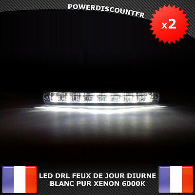 led drl feux de jour avant phare diurne eclairage voiture auto 8 led blanc xenon eur 13 00. Black Bedroom Furniture Sets. Home Design Ideas