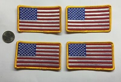 """Lot 4 Four American Flag Patches 2"""" X 3.5"""" Police Fire Military Security USA"""