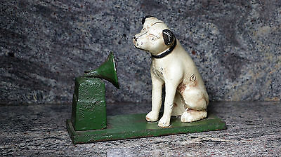RCA Cast Iron Victor Nipper Dog Hand Painted Coin Piggy Bank