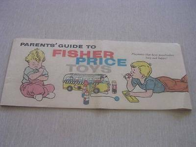 Parents' Guide to Fisher Price Toys c 1960 16 Page Booklet