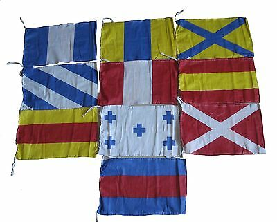 Nautical Sailboat Boating Signal Code FLAG - 100% COTTON -Set of Total 10 flags