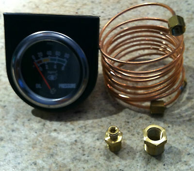 New Oil Gauge With  Black  Face W/ Black Bezal And Copper Oil Line Kit