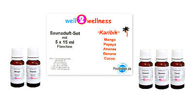 Sauna Set Of Essential Oils For / scent - 'Caribbean' with 5 x 15ml Bottles