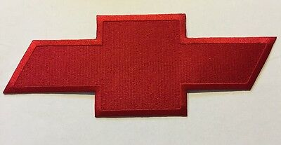 """Chevy Embroidered Bowtie Patch Chevrolet 4"""" X 10"""" Red"""