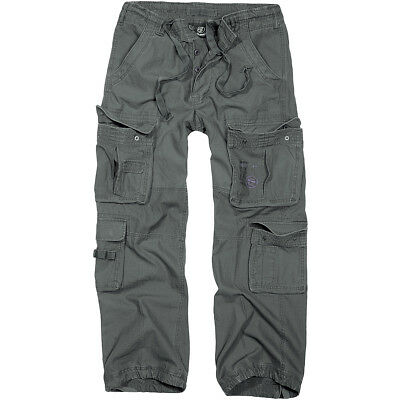 Brandit Pure Vintage Mens Trousers Motorcycle Travel Cargo Pants Anthracite Grey