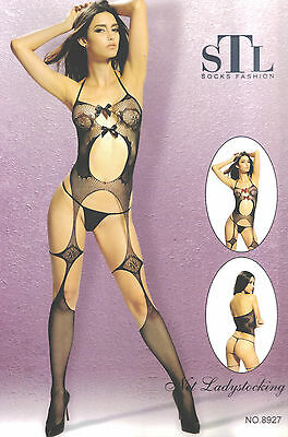 Sexy Body Lingerie Donna Hot Catsuit Bodystocking Intimo Tutine Rete Nero Pizzo