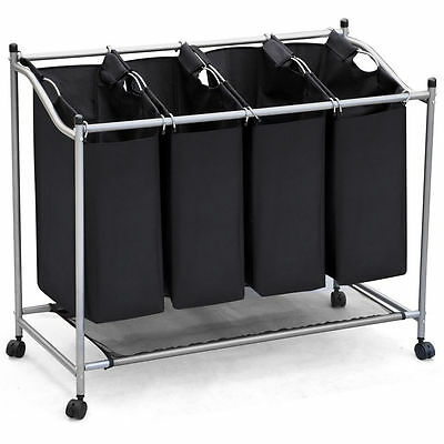 Chrome Removable Canvas 4 Section Laundry Washing Basket Bin Bag Sorter Hamper