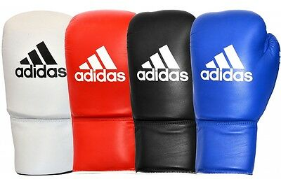 Adidas Pro Leather Boxing Gloves WBC Approved Lace Up Red Blue Black White
