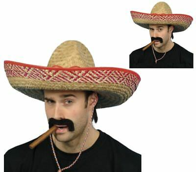 Mexican Sombrero Adults Large Straw Bandit Hat One Size Costume Fancy Dress 6fe3d2bf35e8