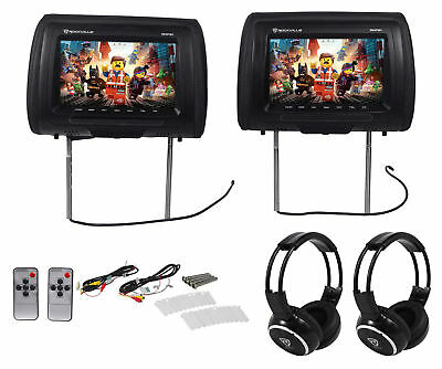 "Rockville RHP91-BK 9"" Digital Panel Black Headrest Monitors+Wireless Headphones"