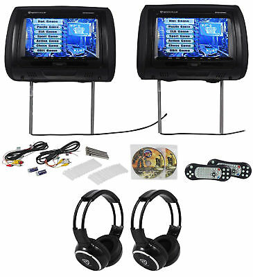 "Rockville RTSVD961-BK 9"" Black Touchscreen DVD/HDMI Headrest Monitors+Headphones"