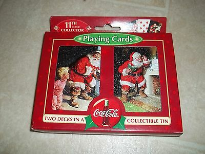 NIP Coca Cola Santa 11th Collector Series 2 Decks Playing Cards in Embossed Tin