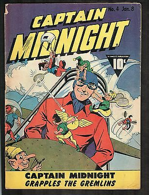 Captain Midnight #4 ~ Vs Gremlins/ War Time Content ~ 1943 (3.5) WH