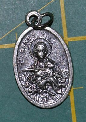 SAINT AGNES, SAINT THOMAS Medal Pendant, SILVER TONE, 22mm X 15mm, MADE IN ITALY
