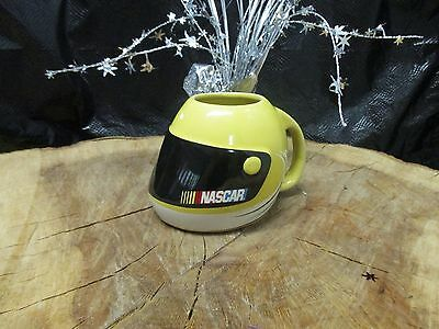 Nascar Yellow Helmet Shaped Ceramic Coffee Mug