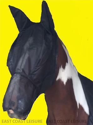 Equidor Horse Full Face Fly Mask Hood With Ears And long Nose Flap