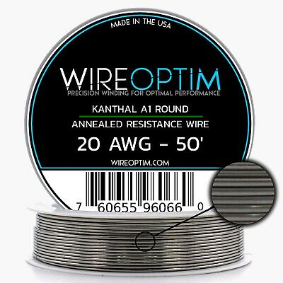 20 Gauge AWG Kanthal A1 Wire 50' Length - KA1 Wire 20g GA 0.81 mm 50 ft